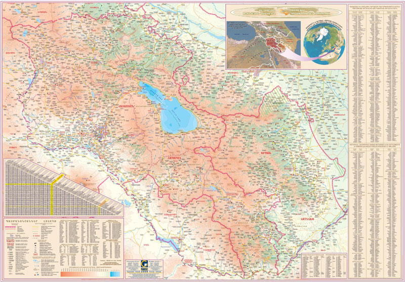 COLLAGE LTD Map Of Armenia And Artsakh - Armenia physical map